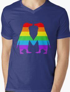 Rainbow penguins in love. Mens V-Neck T-Shirt