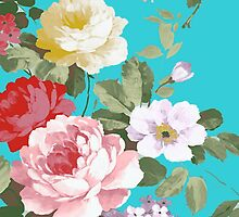 Chic trendy pink red floral vintage roses pattern  by Maria Fernandes