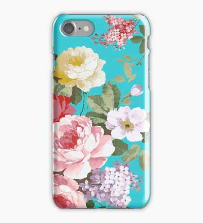 Chic trendy pink red floral vintage roses pattern  iPhone Case/Skin