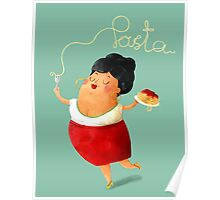 Spaghetti Pasta Lady Poster