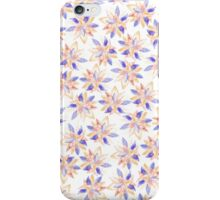 Orange blue hand painted watercolor lotus floral  iPhone Case/Skin