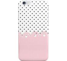 Elegant pink lace black faux glitter dots iPhone Case/Skin