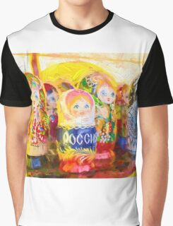 Traditional Russian Matryoshka Nesting Puzzle Dolls Graphic T-Shirt