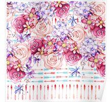 Elegant pink teal watercolor floral arrows pattern Poster