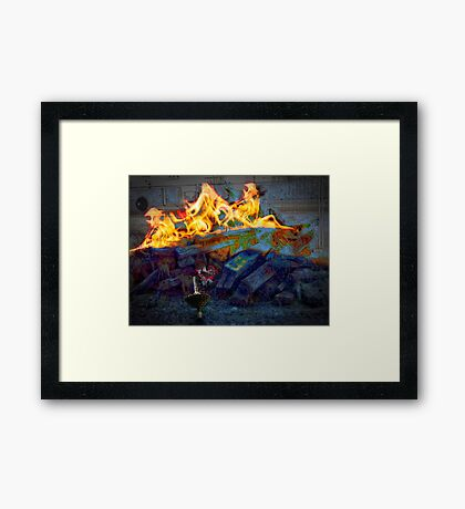 whirligig's joy to be a toy at bonfire Framed Print