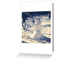 Snowman in the forest. December. Greeting Card