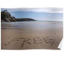 Free word in sand on beach, Salcombe, Devon, United Kingdom Poster
