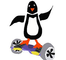 Funny Cool Penguin on Motorized Skateboard by naturesfancy