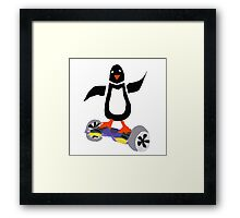 Funny Cool Penguin on Hoverboard Motorized Skateboard Framed Print