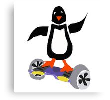 Funny Cool Penguin on Hoverboard Motorized Skateboard Canvas Print