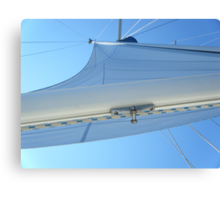 Sailboat Sail Amel Santorin in blue sky 2 #photography Canvas Print