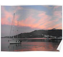 Amel sailboat  in Greek Island Sunset Poster