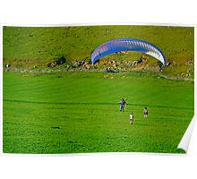 Paraglider Landing Near Ilam  Poster