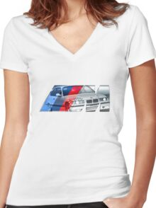 Bmw E36 M3 overlay Women's Fitted V-Neck T-Shirt