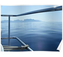 Sailboat Bow view of Greek Island Poster