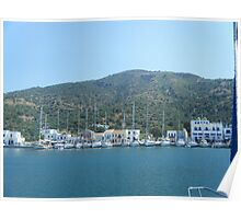 Sailing in to Greek Island Poster