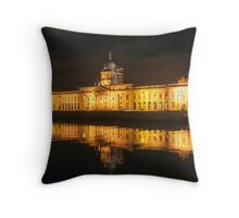 Dublin Ireland Neoclassical 18th-century Customs House reflected in the waters of the River Liffey. Throw Pillow