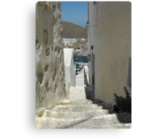 Greek Island Stone Stairs to Harbor #photography Canvas Print