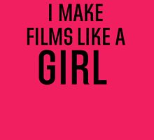 I Make Films Like A Girl - Black Text Womens Fitted T-Shirt