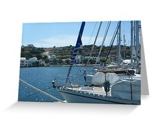 Sailboat Greek harbor view Greeting Card