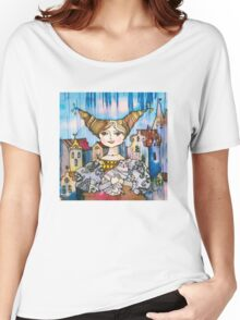 Young Lady with Kitten Women's Relaxed Fit T-Shirt