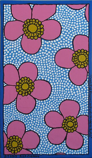 Alex Crombie &#x27;Candy Pink Blossoms on Blue with White Dots&#x27; by AccessArtsBOA