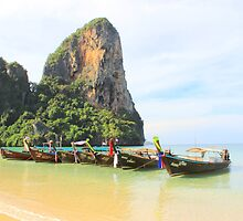Longtail Boats - West Railay Beach - Thailand by Honor Kyne