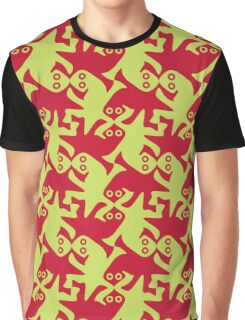 Alien kissing reptiles amaranth red lime green Graphic T-Shirt