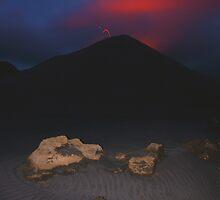 Night eruption of Yasur.  Tanna. Vanuatu. by Ian Hallmond