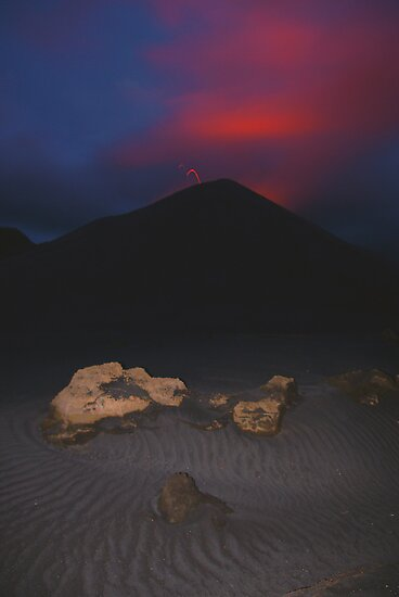 Night eruption of Yasur.  Tanna. Vanuatu. by Ian Hallmond