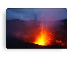 Eruption blast, Yasur volcano.  Tanna. Vanuatu. Canvas Print