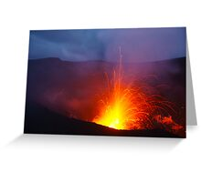 Eruption blast, Yasur volcano.  Tanna. Vanuatu. Greeting Card