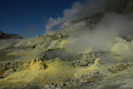 Steaming sulfur vents. White Island volcano. New Zealand. by Ian Hallmond