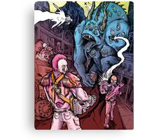 Space Marines in Glorious Battle with Dinobeasts Canvas Print