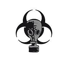 biohazard logo sign symbol toxic virus biological chemical gas mask cool design 1 filter Photographic Print