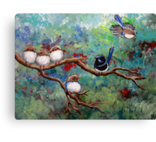 Wrens in the Garden Canvas Print