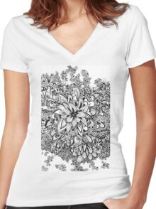 Doodle blossoms Women's Fitted V-Neck T-Shirt