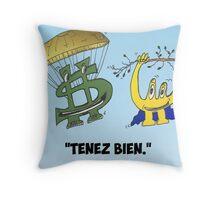 Buck et Euroman en caricature économique Throw Pillow