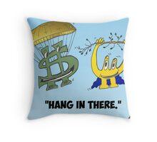 Buck and Euroman economics caricature Throw Pillow