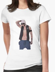 Muscular and sexy body of young sporty man Womens Fitted T-Shirt