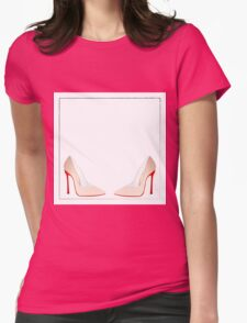 cinderella shoe red heels Womens Fitted T-Shirt
