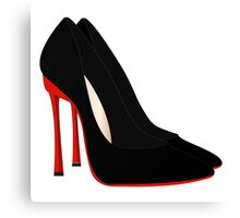 red heels black shoes Canvas Print