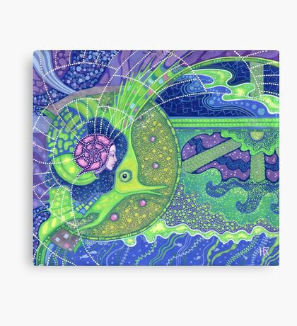 """""""Dream of the fullmoon"""", surreal art mermaid fantasy, underwater, blue and green colors Canvas Print"""