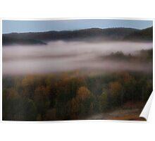 Morning Mist From Broken Bow Dam Poster
