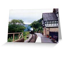 Steam train arriving  Greeting Card