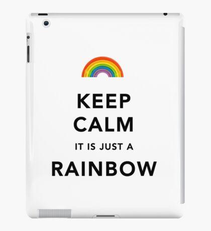Keep Calm Rainbow on white iPad Case/Skin