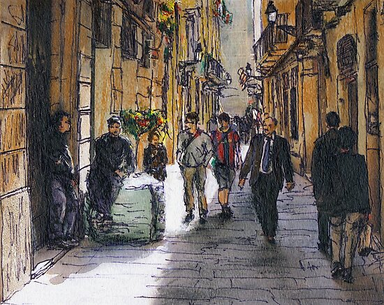 Barcelona Street Sketch by Randy Sprout