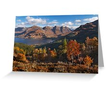 Five Sisters of Kintail, from Mam Ratagan. North West Scotland. Greeting Card