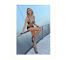 Blond girl in lingerie at LA cityscapes 1 Art Print