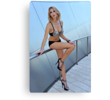 Blond girl in lingerie at LA cityscapes 1 Canvas Print